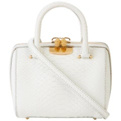 TYLER ELLIS Marilyn Tote Small White Matte Python Gold Hardware