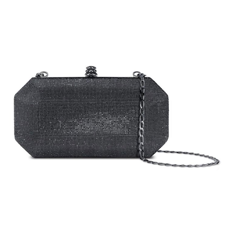 TYLER ELLIS Perry Clutch Small Gunmetal Swarovski Crystal Fine Mesh In New Condition For Sale In Los Angeles, CA