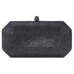 TYLER ELLIS Perry Clutch Small Gunmetal Swarovski Crystal Fine Mesh