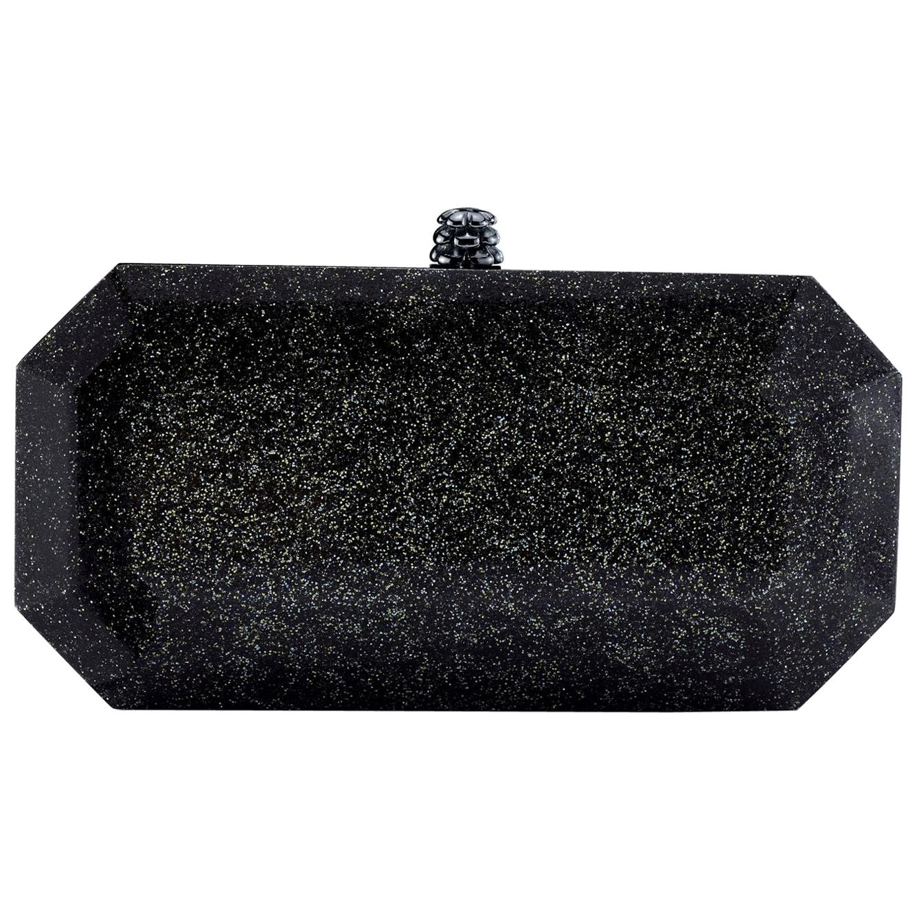 TYLER ELLIS Perry Clutch Small in Black Glitter Plexi with Gunmetal Hardware
