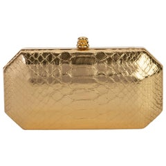 TYLER ELLIS Perry Clutch Small Metallic Gold Python Gold Hardware