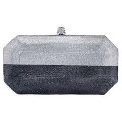 TYLER ELLIS Perry Clutch Small Silver + Gunmetal Swarovski Crystal Fine Mesh