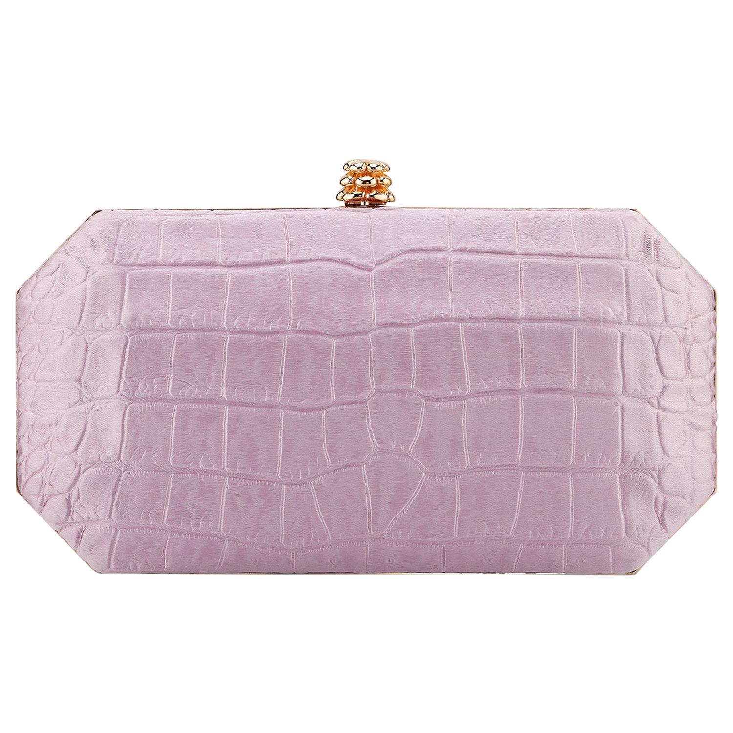 TYLER ELLIS Perry Small Clutch Antique Pink Stamped Satin Rose Gold Hardware