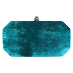 TYLER ELLIS Perry Small Clutch Blue-Green Crushed Velvet Gunmetal Hardware