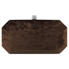 TYLER ELLIS Perry Small Clutch Brown Crushed Velvet Gunmetal Hardware
