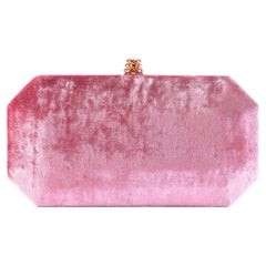 TYLER ELLIS Perry Small Clutch Dark Pink Crushed Velvet Rose Gold Hardware