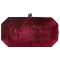 TYLER ELLIS Perry Small Clutch Dark Red Crushed Velvet Gunmetal Hardware