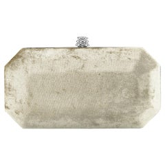 TYLER ELLIS Perry Small Clutch Gold Crushed Velvet Silver Hardware