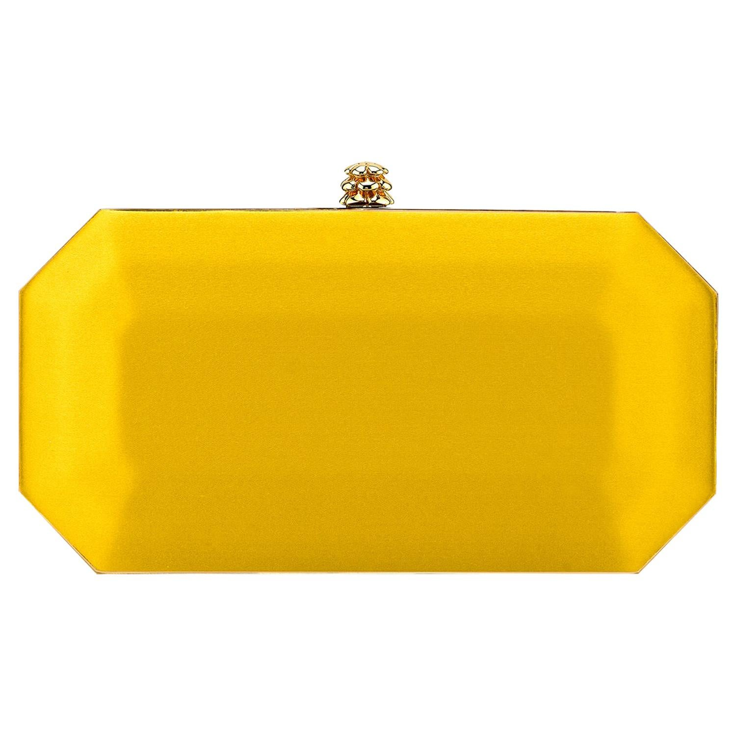 TYLER ELLIS Perry Small Clutch Golden Yellow Satin Gold Hardware