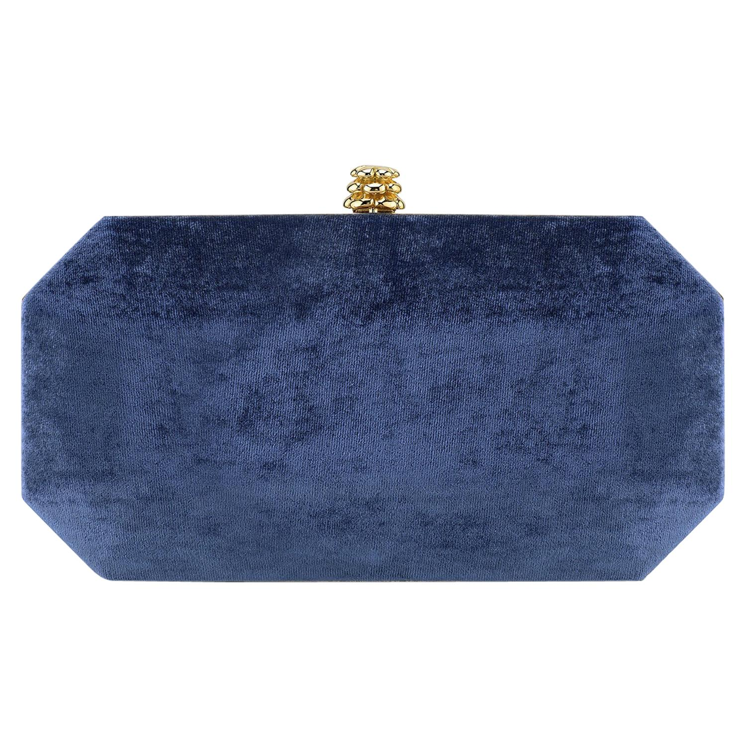 TYLER ELLIS Perry Small Clutch Navy Blue Crushed Velvet Gold Hardware
