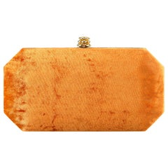 TYLER ELLIS Perry Small Clutch Orange Crushed Velvet Gold Hardware
