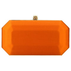 TYLER ELLIS Perry Small Clutch Orange Satin Gold Hardware