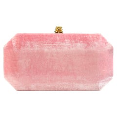 TYLER ELLIS Perry Small Clutch Pink Crushed Velvet Gold Hardware