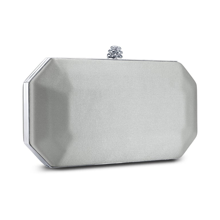 TYLER ELLIS Perry Small Clutch Silver Satin Silver Hardware In New Condition For Sale In Los Angeles, CA
