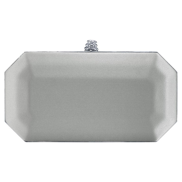 TYLER ELLIS Perry Small Clutch Silver Satin Silver Hardware For Sale