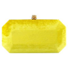 TYLER ELLIS Perry Small Clutch Yellow Crushed Velvet Gold Hardware