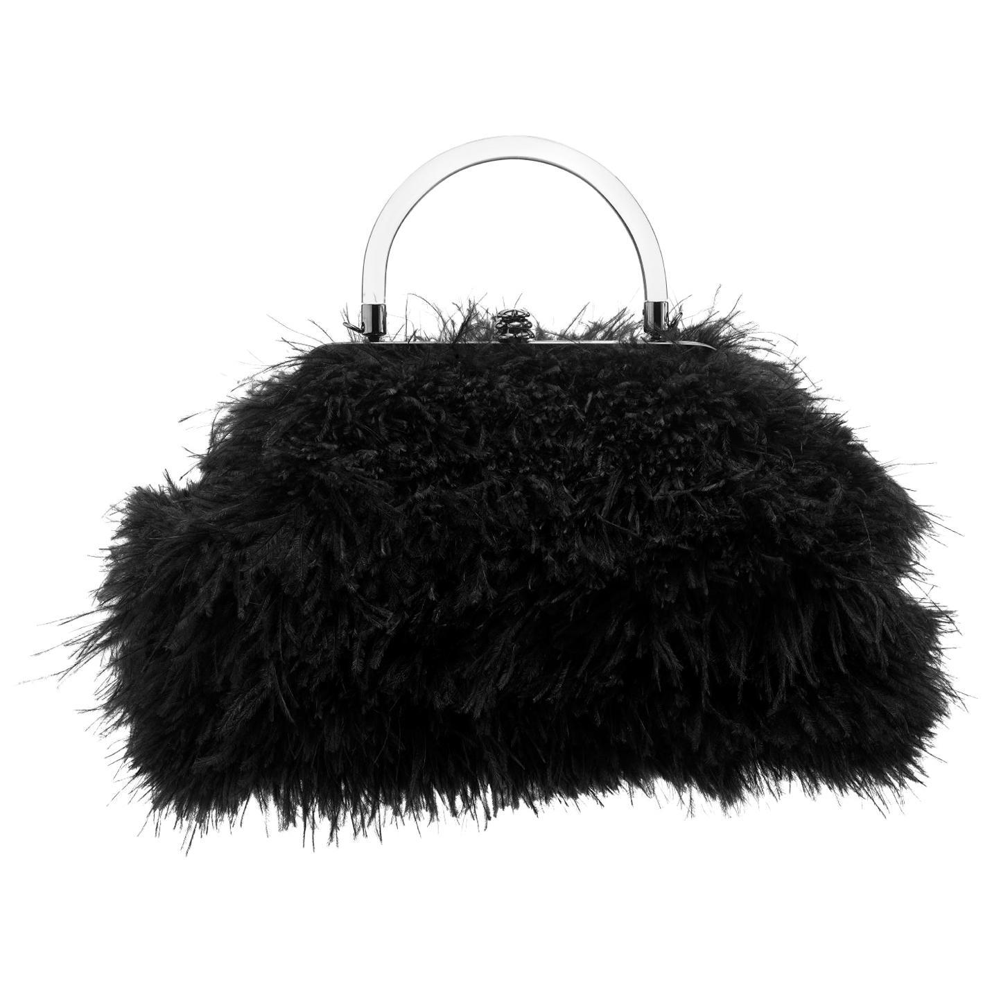 TYLER ELLIS Poppy Handbag Small in Black Ostrich Feathers with Gunmetal Hardware