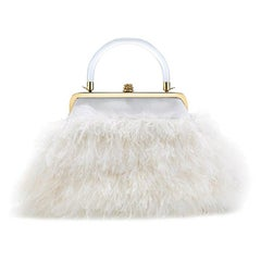 TYLER ELLIS Poppy Small in Cloudy White Ostrich Feathers with White Satin