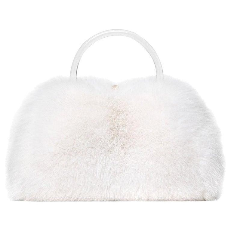 TYLER ELLIS Poppy Tote Large Snow White Fox Fur Gold Hardware For Sale