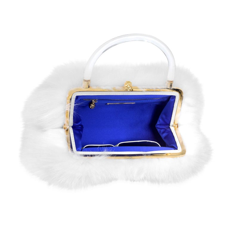 Gray TYLER ELLIS Poppy Tote Large Snow White Fox Fur Gold Hardware For Sale