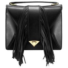 TYLER ELLIS Rita Handbag Large in Black Leather with Fringe and Gold Hardware
