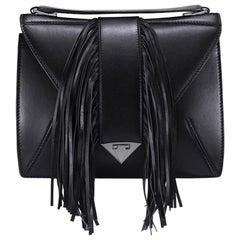 TYLER ELLIS Rita Handbag Large in Black Leather with Fringe and Gunmetal HW