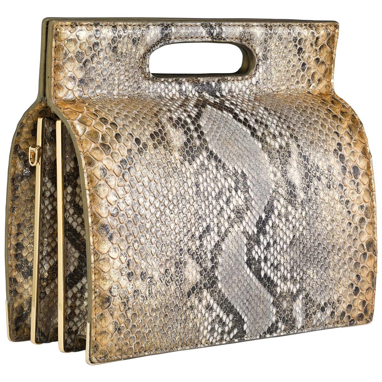 TYLER ELLIS Stella Handbag Tall Metallic Gold Natural Python Gold Hardware