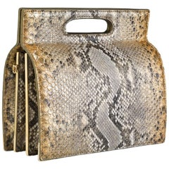 TYLER ELLIS Stella Handbag Tall Metallic Gold Natural Python Gold Hardware