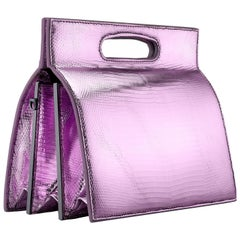 TYLER ELLIS Stella Small in Pink and Purple Metallic Lizard