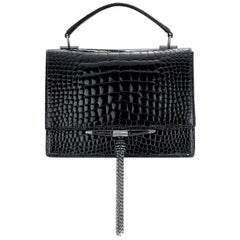 TYLER ELLIS Tiffany Black Bombe Patent Alligator Gunmetal Hardware