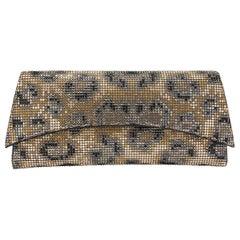 TYLER ELLIS Veronica Clutch Leopard Swarovski Crystal Fine Mesh
