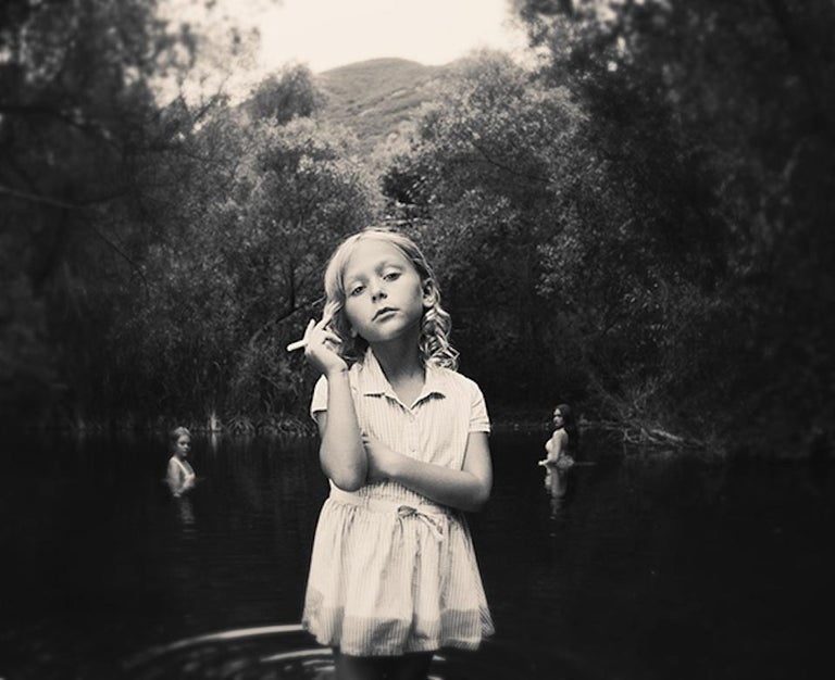 Tyler Shields Black and White Photograph - Girl In The Pond