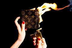 Louis Vuitton wallet on fire