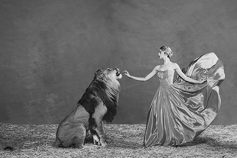 Tyler Shields Black and White Photograph - The Lion Queen, Photography, Story teller, Hollywood, Lion