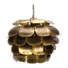 Type 6435 Pendant by Holm Sorensen & Co., 1960s. Large Artichoke Brass Lamp
