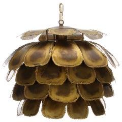 Type 6435 Pendant by Holm Sorensen & Co., 1960s Large Artichoke Brass Lamp