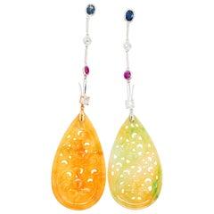 Type A Jadeite Jade Drop Earrings / Pendants Rubies OMC Diamond and Sapphires
