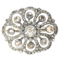 Typical Dutch Antique Rose Cut Diamond Jewel Brooch, 1860s