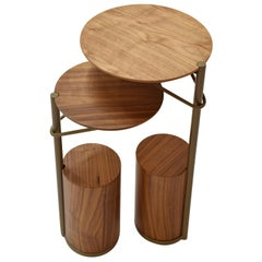 Tyr Side Table Set in Walnut Blade and Metal Brass Color