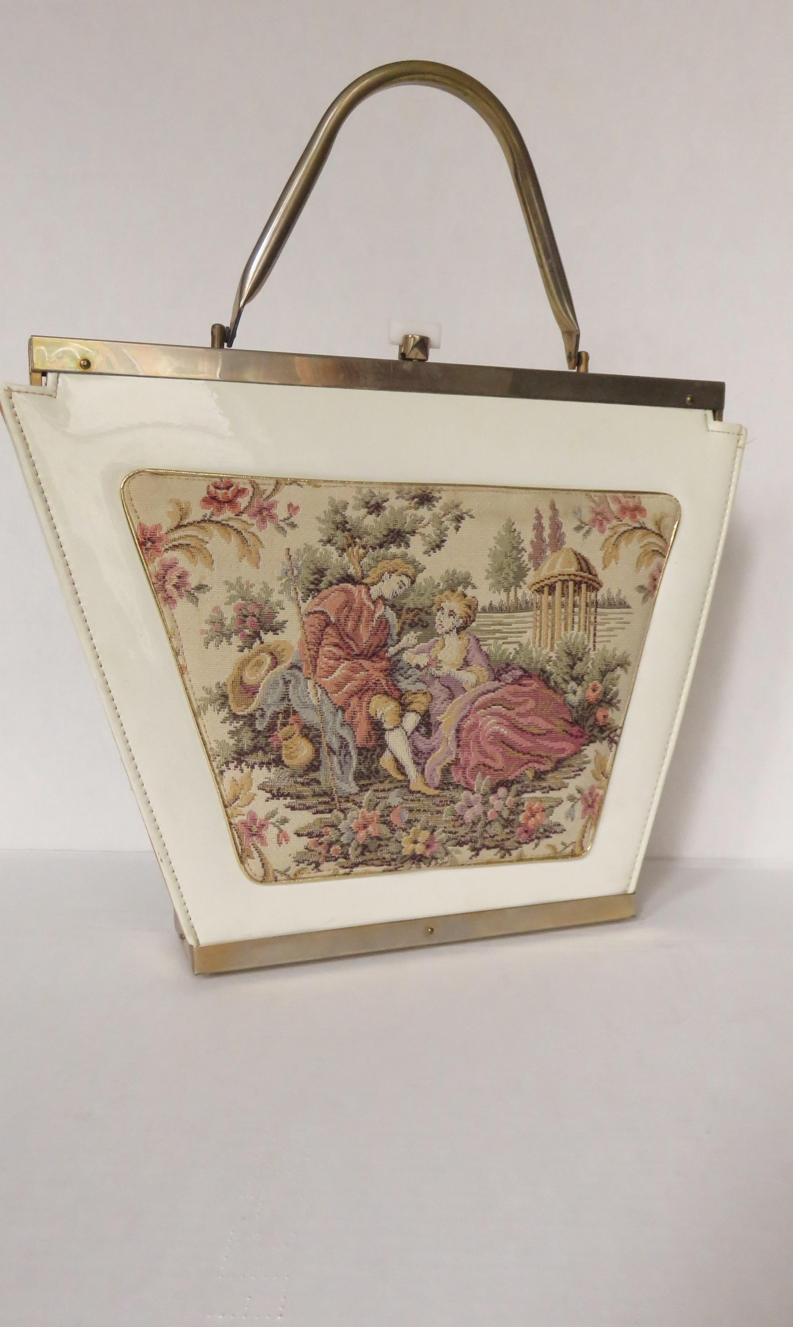 Traditional Tapestry Flowers Owl Vintage Theme Canvas Tote Bag NEW