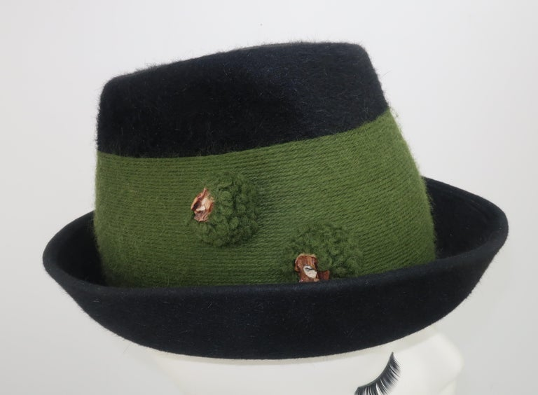 Women's Tyrolean Style Green Mohair Hat With Horn Button Accents For Sale