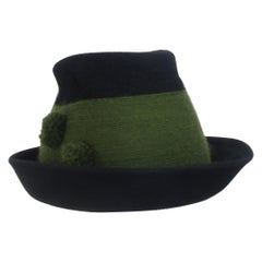 Tyrolean Style Green Mohair Hat With Horn Button Accents