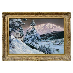 """Tyrolean Village at Dusk"" Painting by Alois Arnegger"