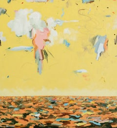 The Hudson II - original yellow abstract oil painting by Tyrone Layne