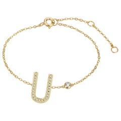 U Initial Bezel Chain Bracelet