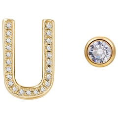 U Initial Bezel Mismatched Earrings