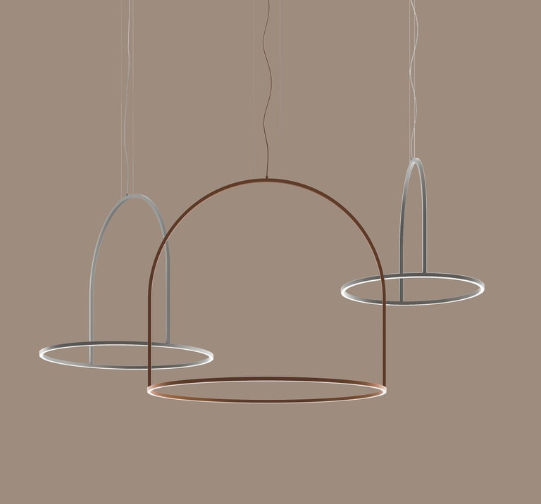 Contemporary U-Light Modern Italian LED Ring Pendant with Arch by Axolight, Medium For Sale