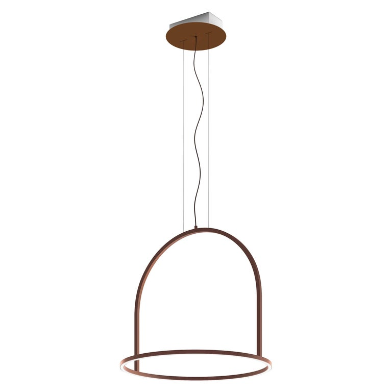 U-Light Modern Italian LED Ring Pendant with Arch by Axolight, Small For Sale