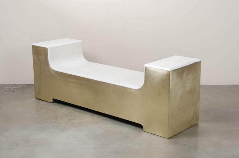 U Shape Bench, Cream Lacquer with Brass by Robert Kuo, Hand Repoussé In New Condition For Sale In West Hollywood, CA