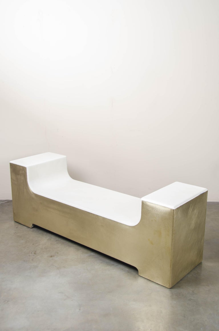 Contemporary U Shape Bench, Cream Lacquer with Brass by Robert Kuo, Hand Repoussé For Sale
